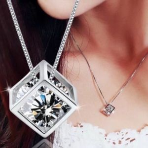 """3/$20 CZ Cube Necklace on Silver 17"""" Chain"""